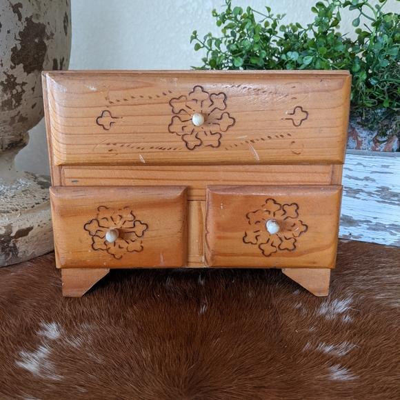 Primitive Wood Farmhouse Jewelry Trinket Dresser